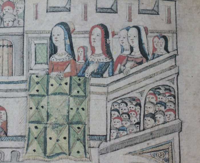 Detail from the Garter ceremony scene in Writhe's Garter Book